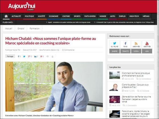 Entretien de Coaching-Scolaire-Maroc avec le journal aujourd'hui le Maroc 2017