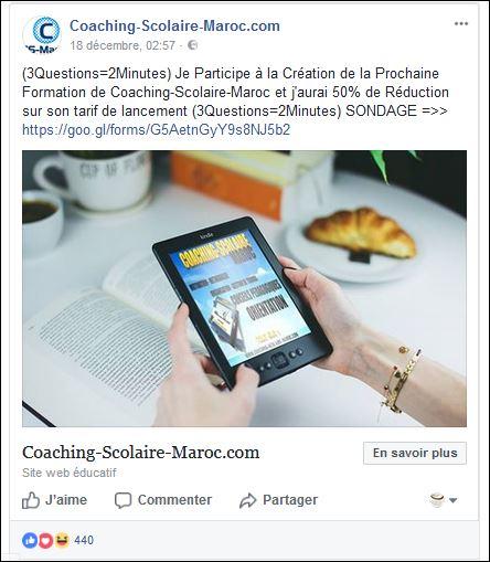 """Sondage """"Coaching-Scolaire-Maroc"""" sur Facebook"""